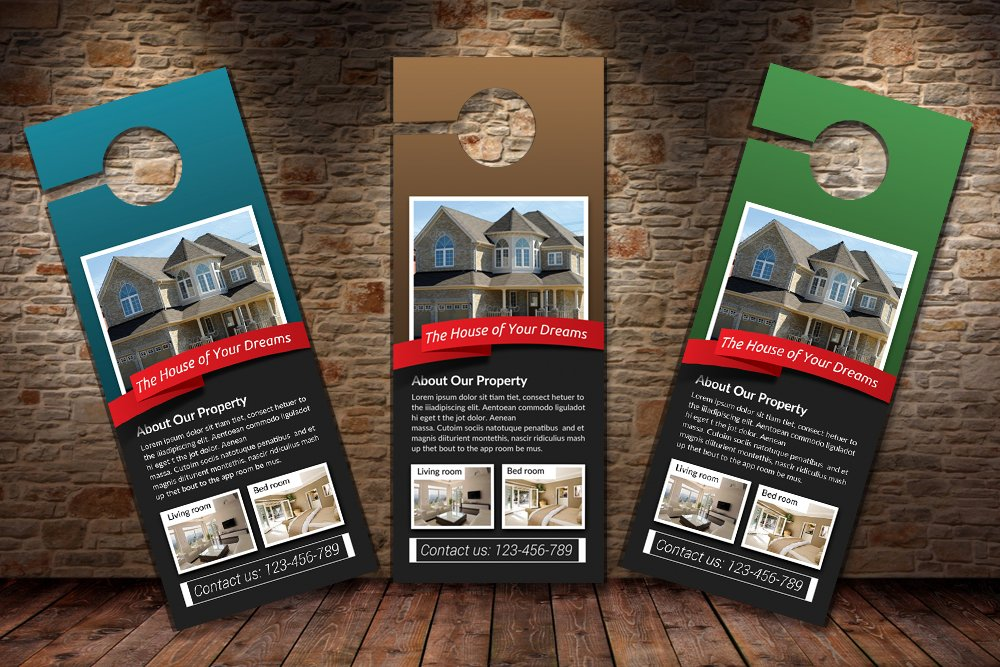 Real Estate Agency Psd Door Hanger Stationery Templates