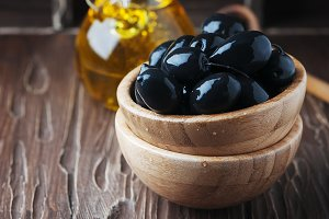 Greek black olive and oil