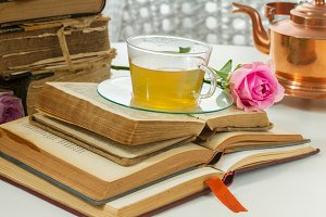 Cup of tea with books