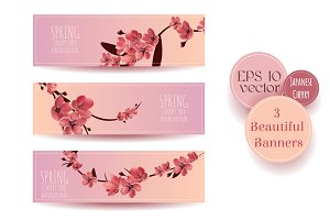 Floral Beautiful Sakura  Banners