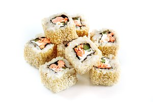 Japanese food. Roll with salmon
