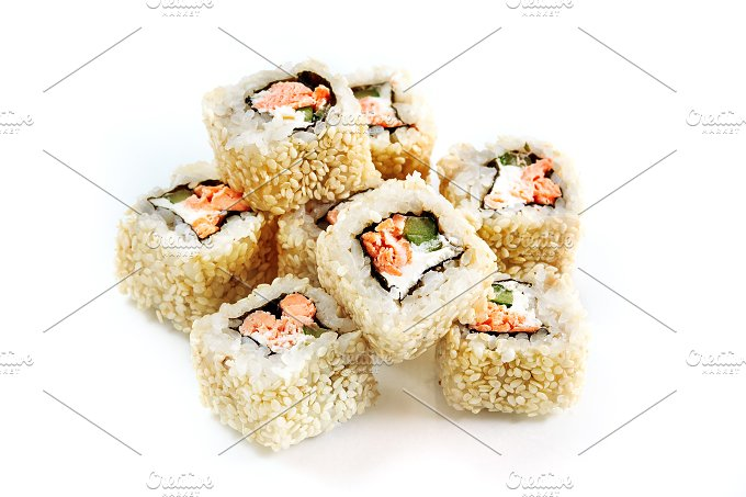 Japanese food. Roll with salmon - Food & Drink