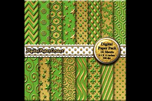 Gold Green Embossed Digtial Paper