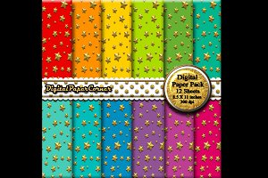 Gold Stars Scrapbook Digital Paper