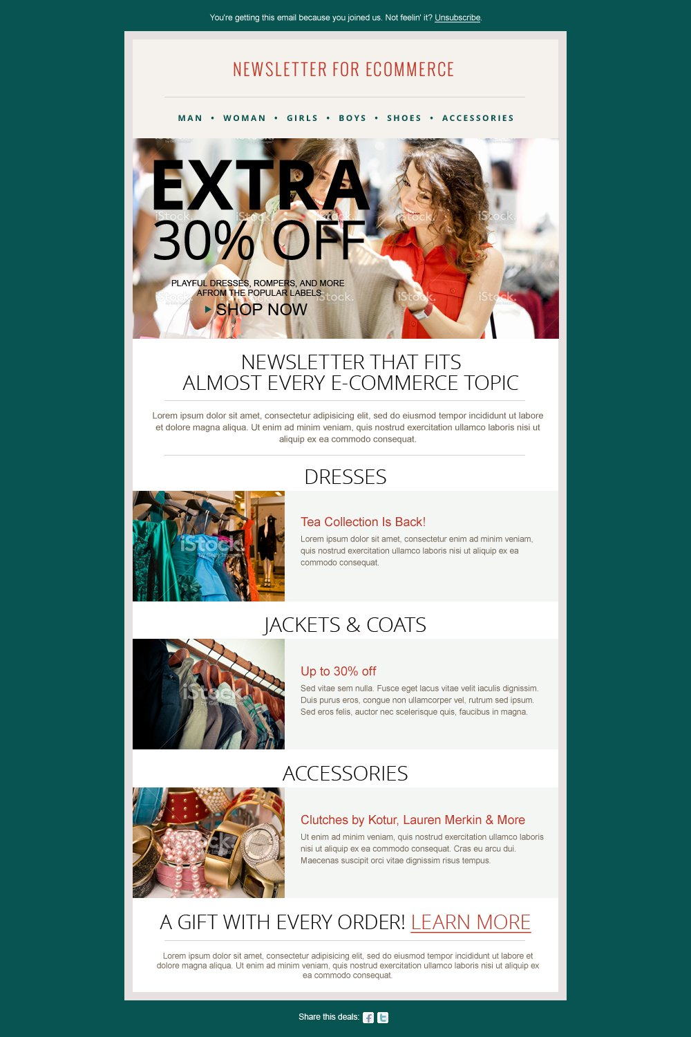 Fashion Ecommerce Newsletter PSD Templates Creative Market - Ecommerce email templates free download