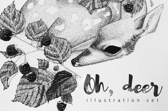Deer and berries. Illustration set - Illustrations