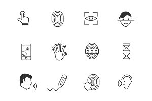 12 Biometric and Security Icons