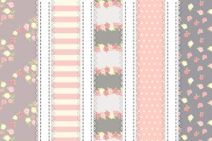 shabby chic seamless pattern set