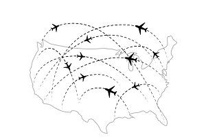 Air routes on USA map