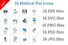 16 Medical Flat Icons Set vol. 2