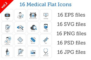 16 Medical Flat Icons Set vol. 2