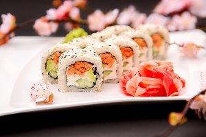 Japanese food - sushi and sakura