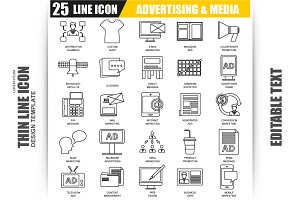 Thin Line Advertising Icons