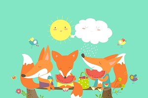 Cute foxes eating watermelon