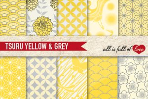 Yellow Grey Japanese Backgrounds Kit