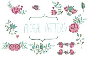 gentle vector set of floral elements