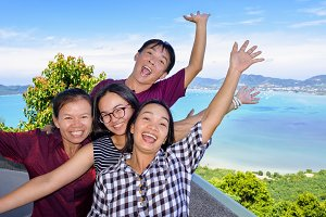Family happy on viewpoint Phuket
