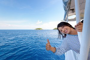 Tourist woman on boat