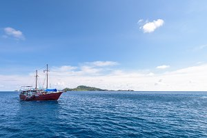 Ship traveling on Andaman Sea