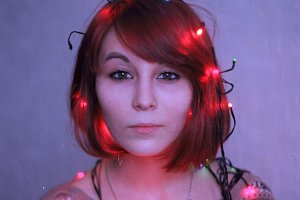 Sofia with electric garland