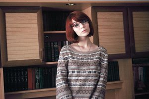 Sofia at the bookshelf