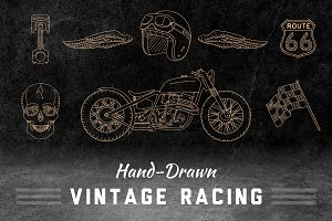 Hand-Drawn Vintage Racing Elements