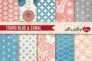 Coral & Blue Japanese Patterns