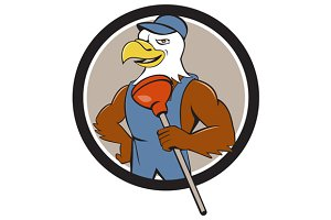 Bald Eagle Plumber Plunger Circle