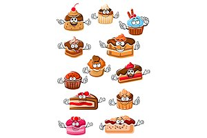 Cartoon happy pastry and bakery