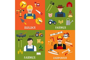 Builder, farmer and carpenter icons
