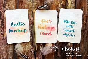3 Cards: Rustic PSD Mockup