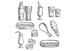 Fast food isolated sketch icons