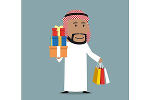 Cheerful smiling arab with gifts