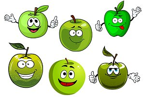 Healthy cartoon green apple fruits