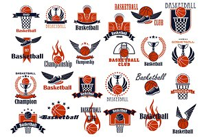 Basketball sport game emblems