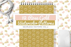 Rose Gold Watercolor Patterns vol.2