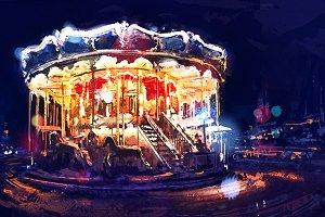 Vintage carousel  (vector + rastr)