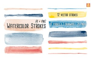 Watercolor Vector Brush Strokes