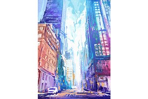 Colorful city (vector + rastr)