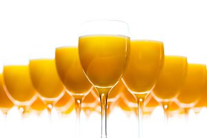 Fresh orange juice in glasses