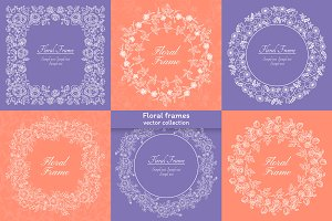 6 vector floral decorative frames