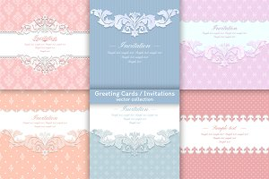 6 stylish greeting/invitation cards