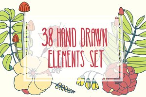 38 hand drawn floral elements set