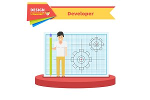 Developer Man Flat Design Concept