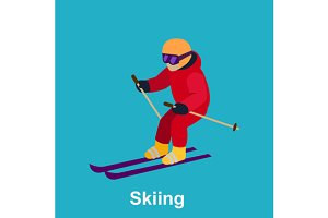 Set Skiing Flat Style Design