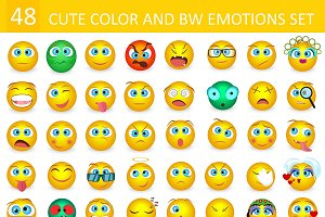 48 Cute color and B&W emotions set.