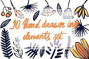 90 hand drawn ink elements