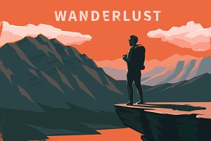 Wanderlust. Vector illustrations.