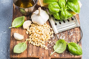 Ingredients for cooking Pesto sauce