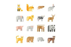Flat design vector animals icons